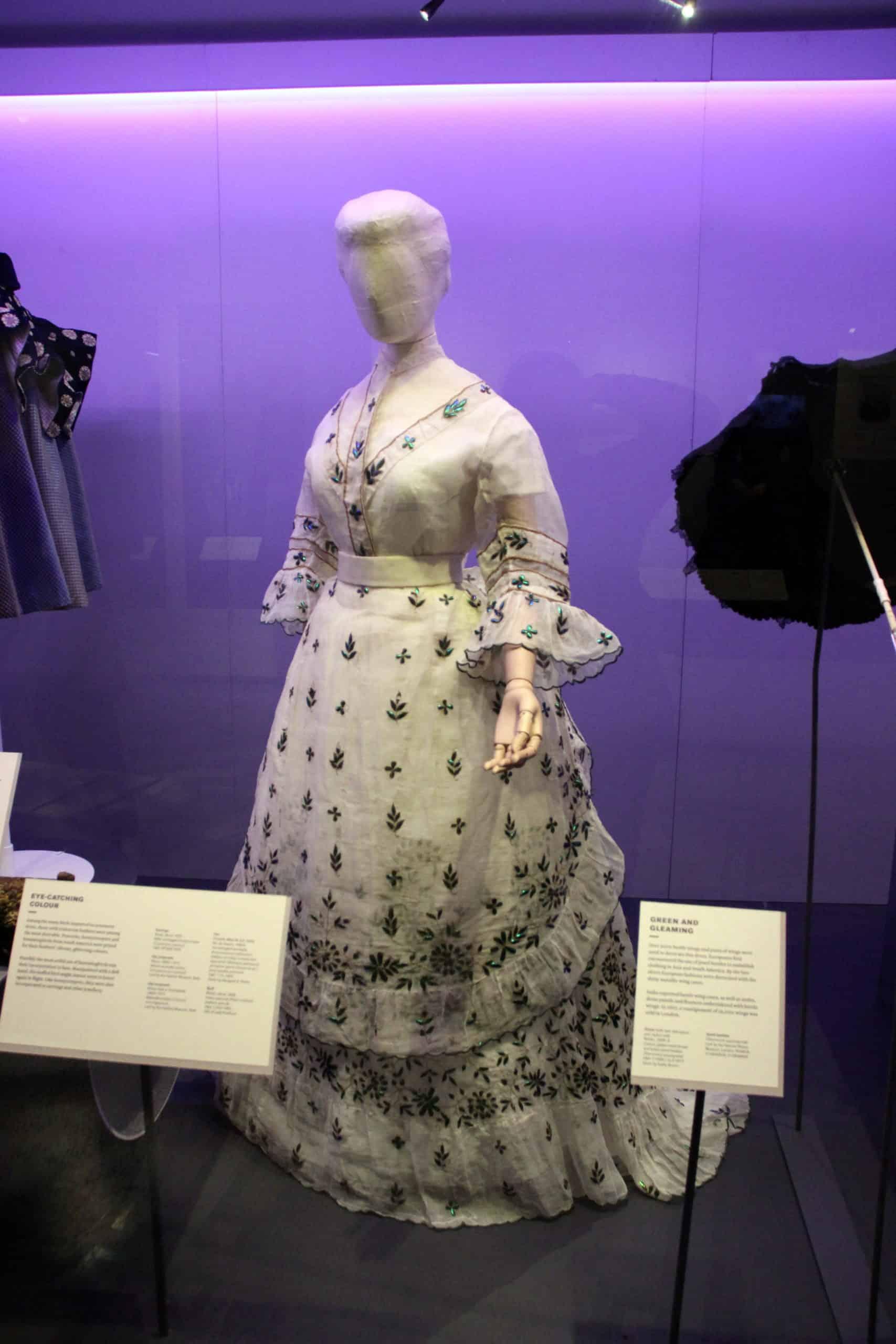 שמלה ויקטוריאנית בעיטור כנפי חיפושיות